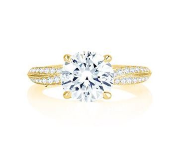 A. JAFFE Crossover Shank Pave Engagement Ring