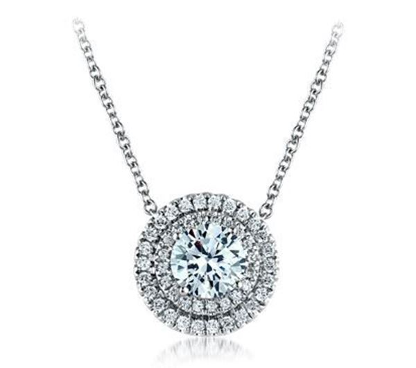 A. JAFFE Round Halo Diamond Pendant Dazzling in Brilliance PD0638