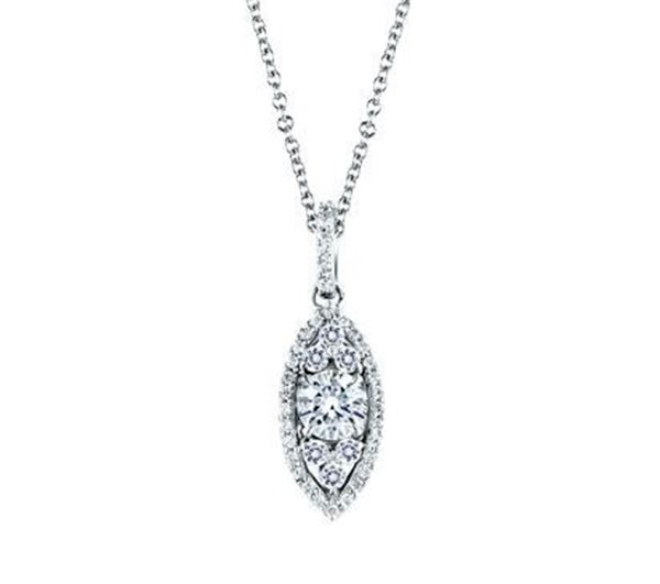 A. JAFFE Halo Marquise Shaped Diamond Pendant PD0610