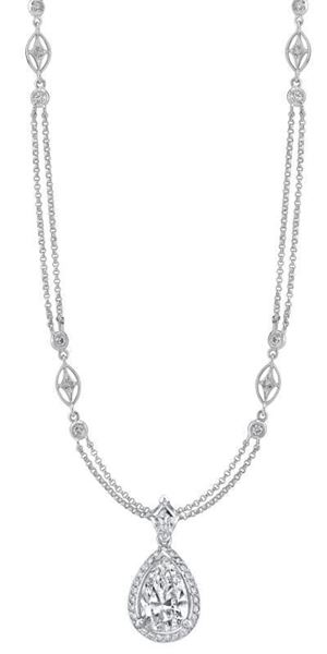 NINACCI Couture Collection Pear Shape Halo Drop Diamond Necklace 22871
