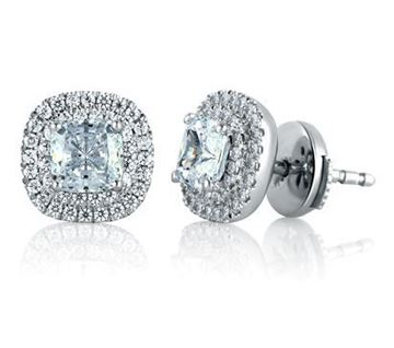 A. JAFFE Double Row Micro Pave Cushion Cut Diamond Halo Earrings ER0876