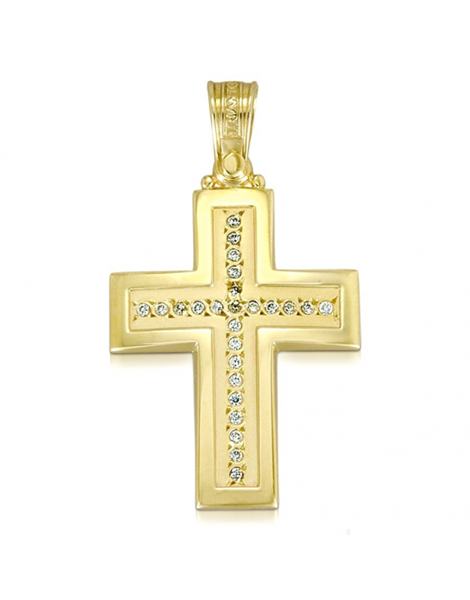 Endless Design Handmade Cross Pendant in Yellow Gold with Diamonds Sold Through Bayside Jewelers in Bellingham WA