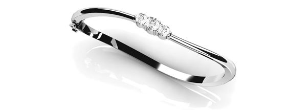 70125 Overnight Mountings Three Diamond Bangle Bracelet, Can Customize by Metal and Diamond Size, Sold Through Bayside Jewelers, Bellingham WA