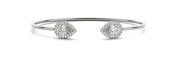 70496 Overnight Mountings Dual Pear Shape Diamond Bangle Bracelet, Can Customize by Metal and Diamond Size, Sold Through Bayside Jewelers, Bellingham WA