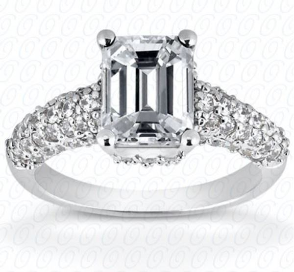 ENR6436 Emerald Cut Diamond Engagement Ring with Smaller Accent Diamonds On Each Side.