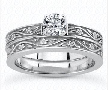 ENS3545 Floral Pattern Bands, Diamond Engagement Set by Unique Designs of NY
