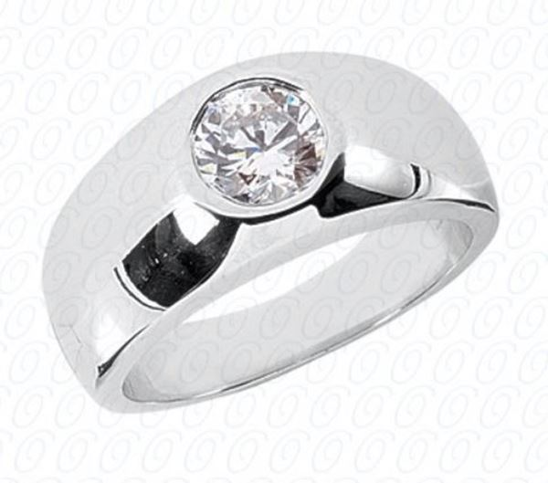 MR119 Men's Solitaire Diamond Ring by Unique Settings of NY