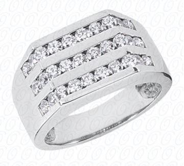MR1082 Men's Striped Diamond Ring by Unique Designs of NY