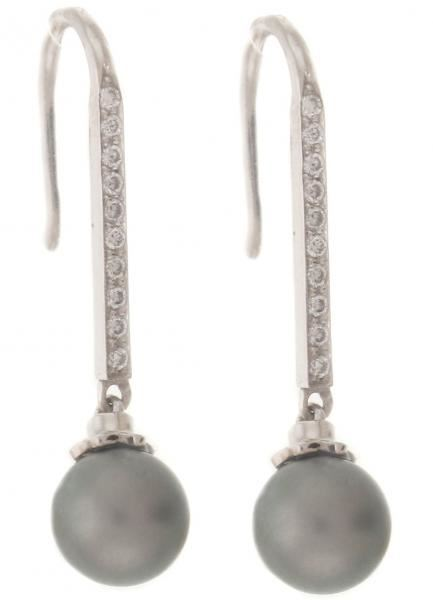 NINACCI Tahitian Pearl Earrings with Diamond Accents 27775 sold by Bayside Jewelers