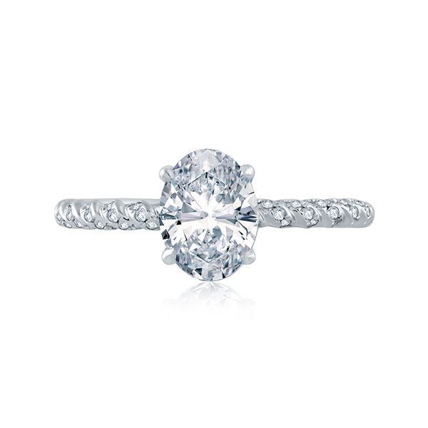 A.JAFFE Tightly Twisted Diamond Shank Oval Solitaire Engagement Ring