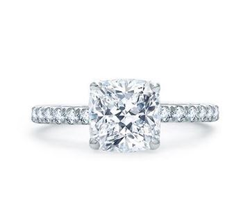 A. JAFFE Quilted French Pavé Cushion Cut Center Diamond Engagement Ring