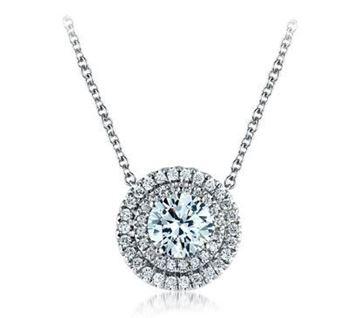 A. JAFFE Round Halo Diamond Pendant Dazzling in Brilliance PD0638