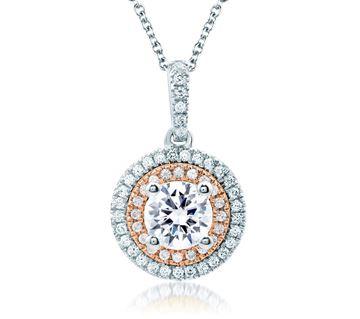 A. JAFFE Double Halo Rose Gold Diamond Pendant Necklace PD0870