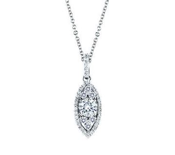 A. JAFFE Halo Marquise Shaped Diamond Pendant PD0610