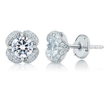 A. JAFFE Art  Designed Nature Inspired Diamond Earrings ER0878