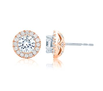 A. JAFFE Center of My Universe Rose Gold Diamond Halo Earrings ER0872