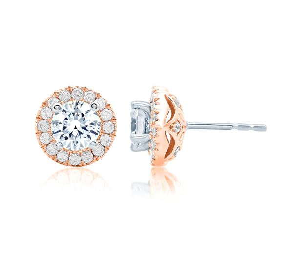 A. JAFFE Center of My Universe Rose Gold Diamond Halo Earrings ER0872