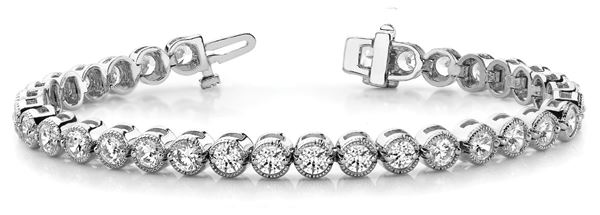 70227 In-Line Prong Set Diamond Bracelet with Round Diamonds, Can Customize by Metal and Diamond Size, Sold Through Bayside Jewelers, Bellingham WA