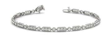 Oval and Round Pattern In-Line Prong Set Diamond Bracelet with Round Diamonds, Can Customize by Metal and Diamond Size, Sold Through Bayside Jewelers, Bellingham WA