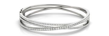 70503 Overnight Mountings Triple Attached Diamond Bangle Bracelet, Can Customize by Metal and Diamond Size, Sold Through Bayside Jewelers, Bellingham WA