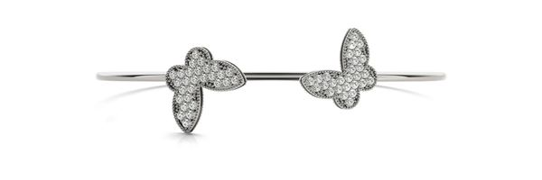 70482 Overnight Mountings Dual Butterfly Diamond Bangle Bracelet, Can Customize by Metal and Diamond Size, Sold Through Bayside Jewelers, Bellingham WA