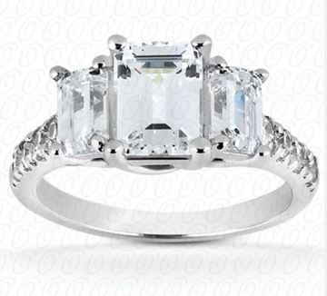ENR7282 Emerald Cut Three Diamond Engagement Ring Designed by Unique Settings of New York, Sold by Bayside Jewelers, Bellingham WA