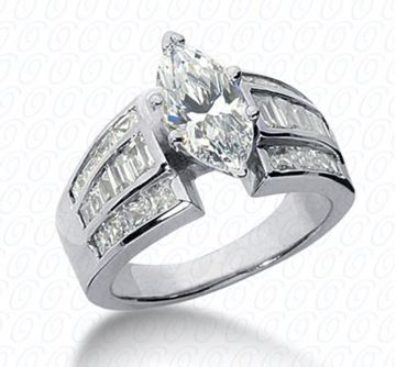 ENR1742 Marquise Cut Diamond Engagement Ring Designed by Unique Settings of New York, Sold by Bayside Jewelers, Bellingham, WA