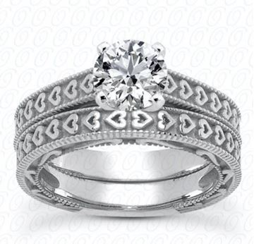 ENS3612 Heart Engraved Bands, Diamond Engagement Ring Set by Unique Designs of NY