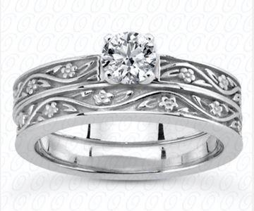 ENS3545 Floral Pattern Bands, Diamond Engagement Set by Unique Designs of NY