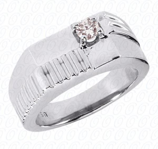 MR321 Men's Flat Top Etched Ring with Solitaire Diamond by Unique Settings of NY