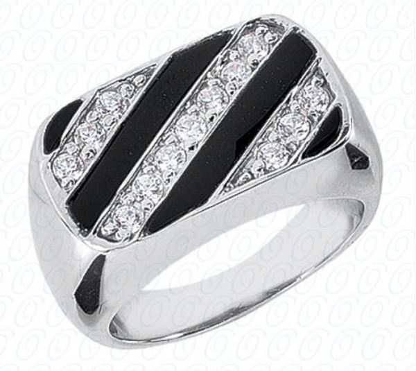 MR165 Men's Striped Onyx and Diamond Ring by Unique Settings of NY