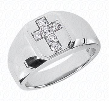 MR150 Men's Ring with Diamonds Forming Cross by Unique Designs of NY