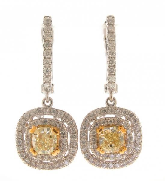 NINACCI Double Halo Diamond Earrings with Yellow Center Stones 27376 sold by Bayside Jewelers