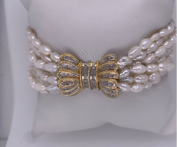 Picture of 8-Strand Fresh-Water Pearl Bow Bracelet