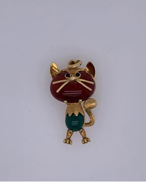 Picture of 18K Yellow Gold Whimsical Cat Brooch