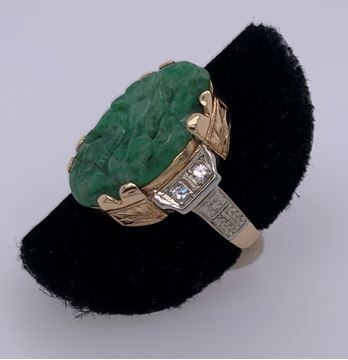 Picture of 14K Yellow Gold Diamond Jade Ring