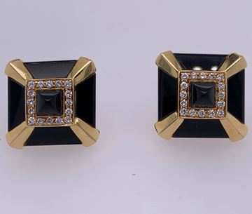 Picture of Art Deco 18k Yellow Gold & Black Onyx Earrings w/ Diamond Accents