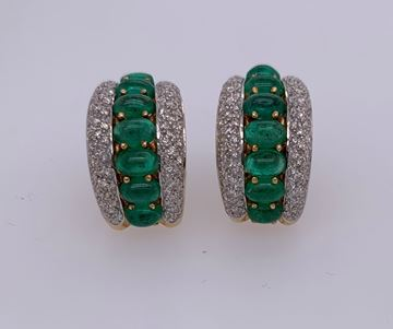 Picture of 18K Omega Back Emerald & Diamond Earrings