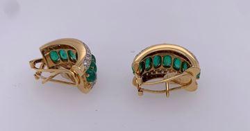 Picture of 18K Omega Back Emerald & Diamond Earrings