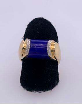 Picture of 18K Yellow Gold Men's Blue Lapis & Diamond Ring