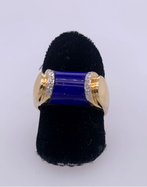 Picture of 18K Yellow Gold Men's Blue Lapis & Diamond Ring