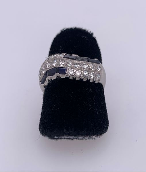 Picture of Platinum Diamond & Blue Sapphire Lady's Ring