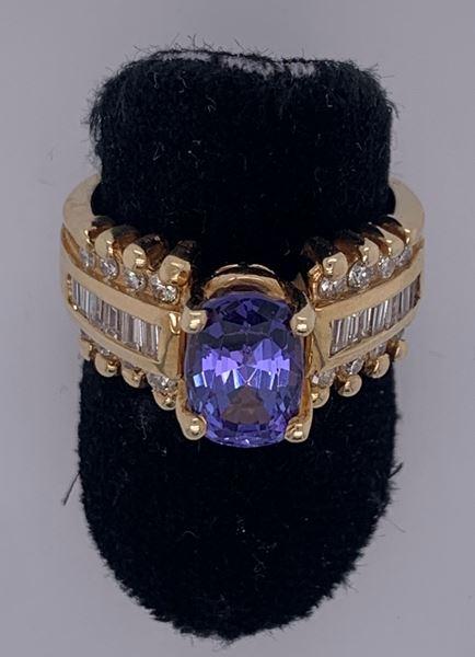 Picture of 14K Yellow Gold Tanzanite & Diamond Ring