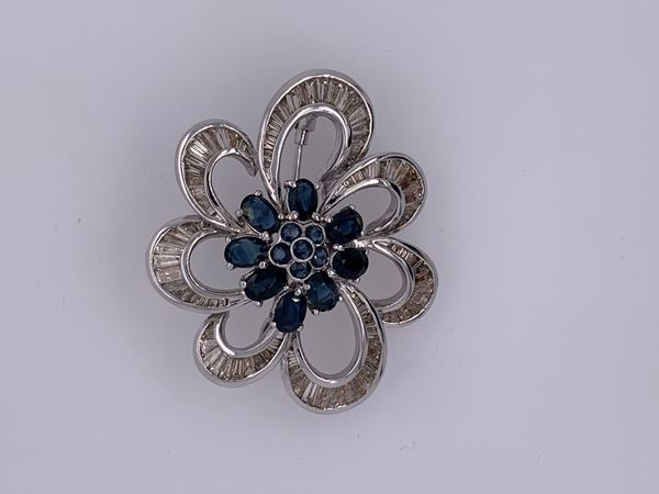 Picture of 14K White Gold Sapphire & Diamond Brooch