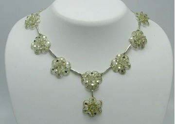 Picture of Lots of Bling Vintage Silvertone Filigree Floral Design Jewelry Set