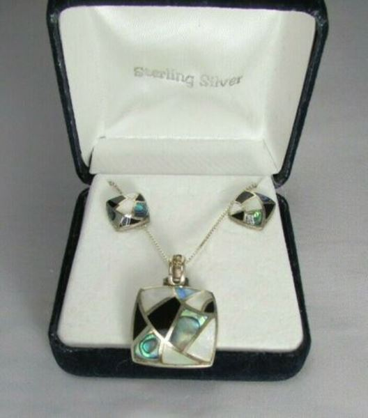 Picture of Sterling Silver Mother of Pearl, Black Onyx, & Abalone Necklace & Earring Set