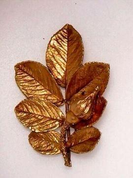 Picture of Sterling Silver Vermeil Leaf Rose Bud Brooch - Eggert Denmark