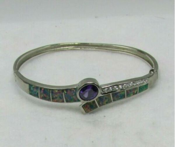 Picture of Sterling Silver Opal & Amethyst Bangle Bracelet