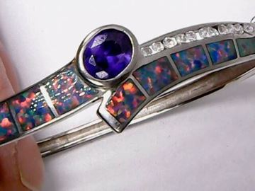 Picture of Sterling Silver Opal & Amethyst Bangle Bracelet