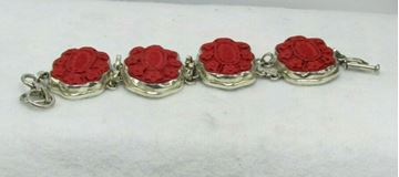 Picture of Sterling Silver Chinese Red Cinnabar Bracelet